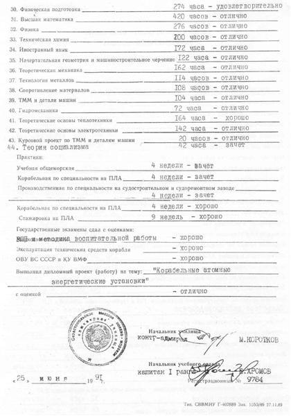 СВВМИУ ru Фотоальбом Выписка из зачетной ведомости без диплома недействительна